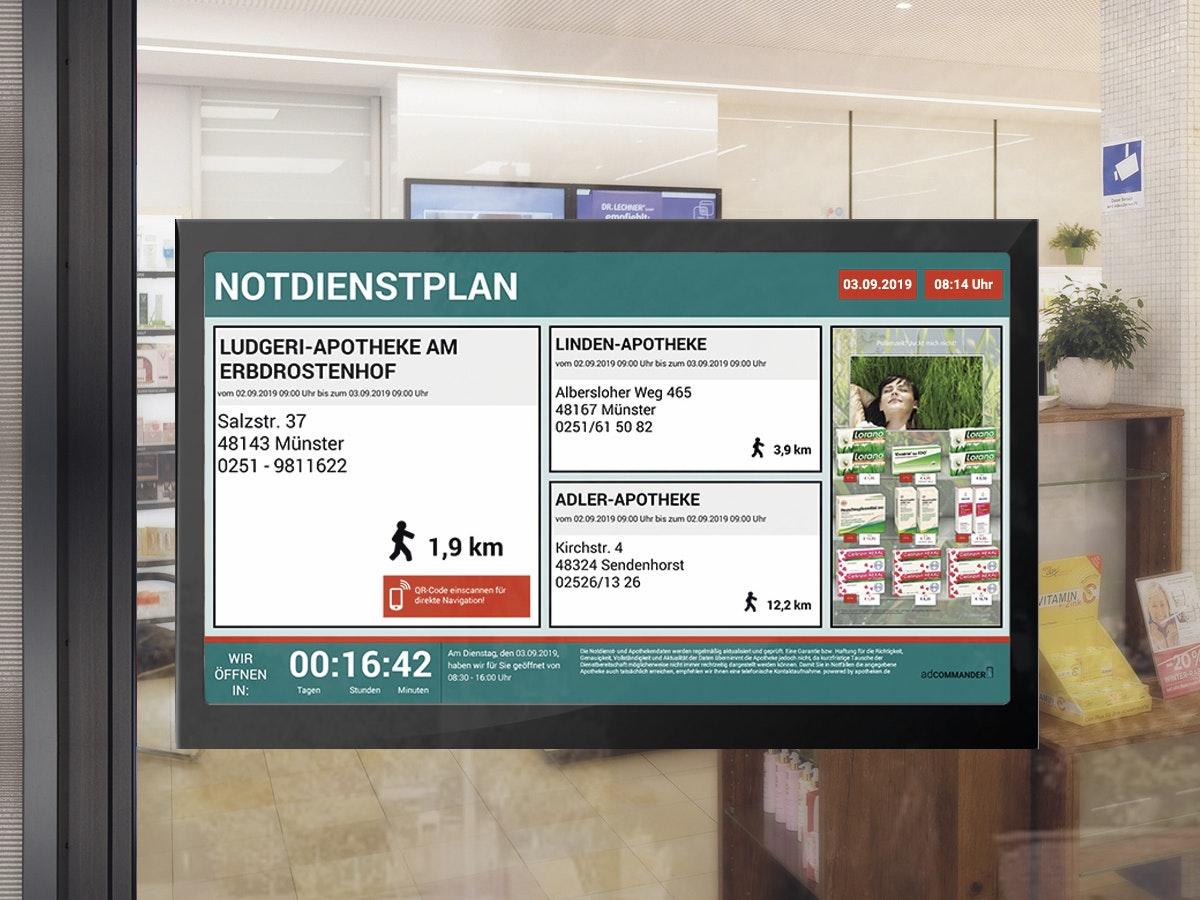 APOSTORE Apotheke Digitale Loesungen Schaufenster Notdienstanzeige
